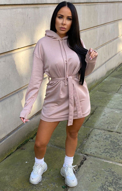Pink Belted Long Line Hoodie Dress - Theo