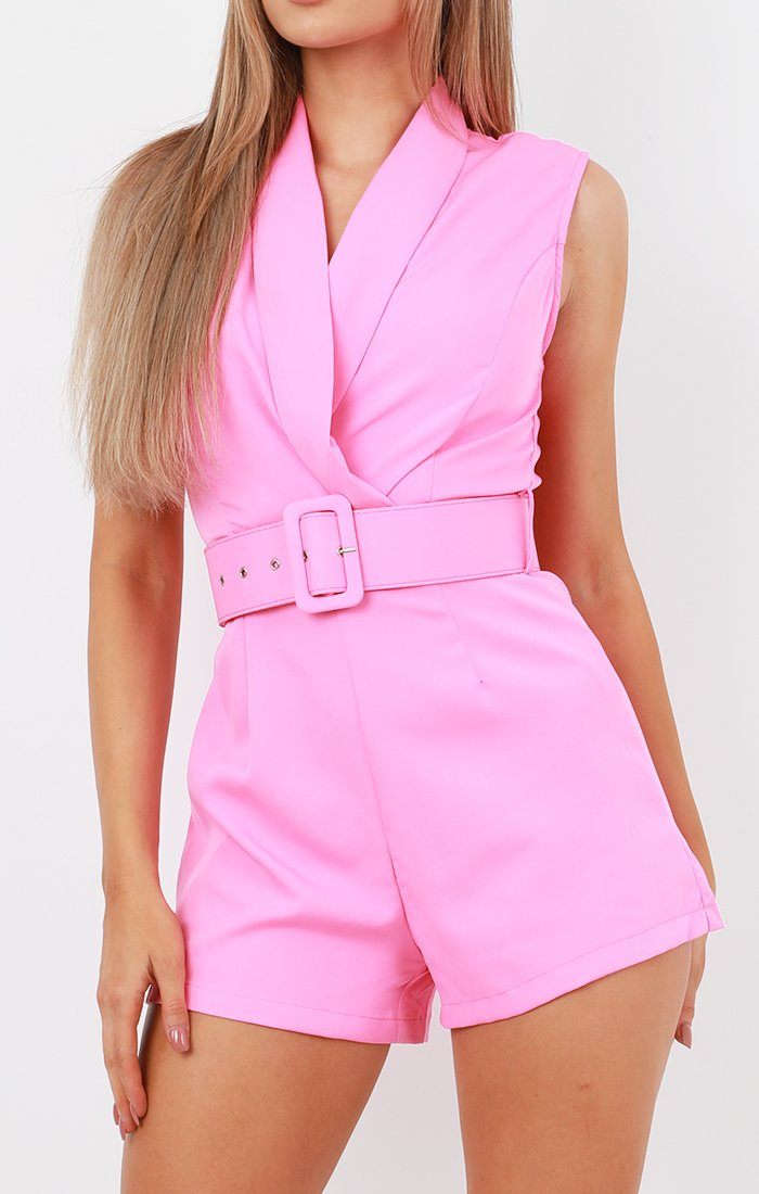 Pink Belted Wrap Collar Playsuit - Kaelyn