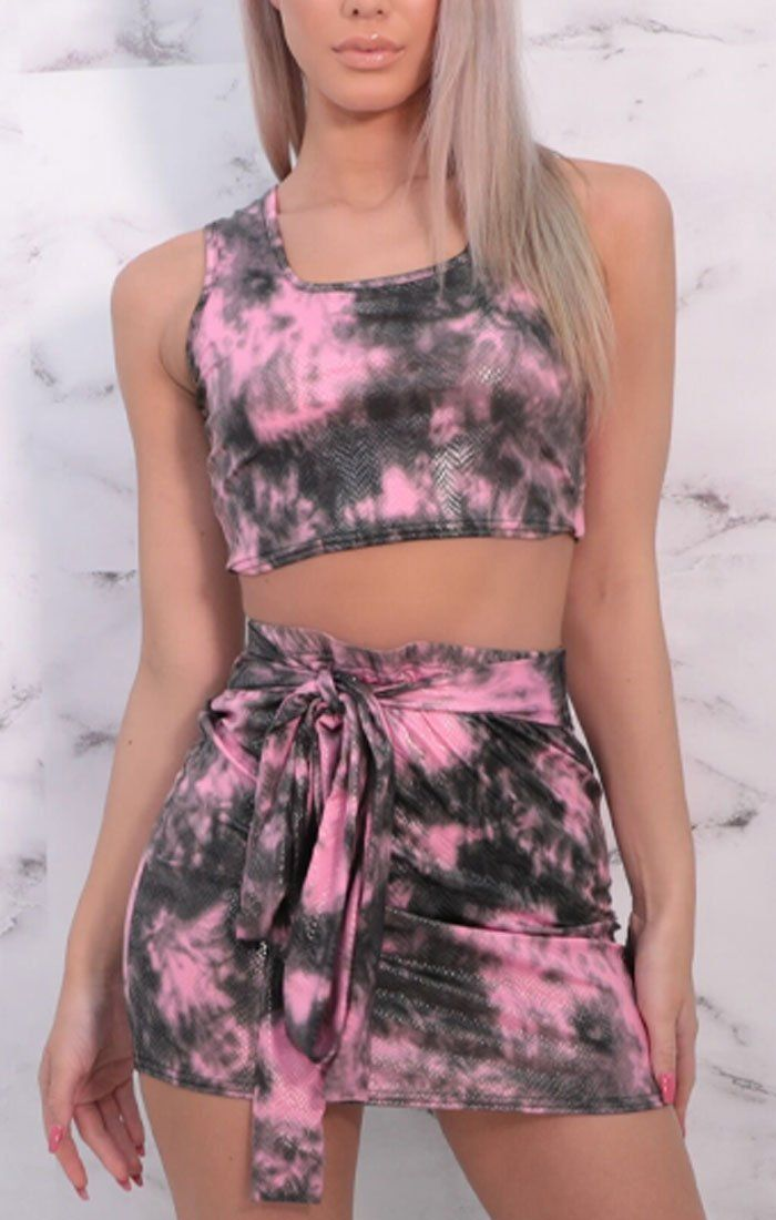 Pink & Black Tie Dye Thick Strap Skirt Co-ord - Orsa