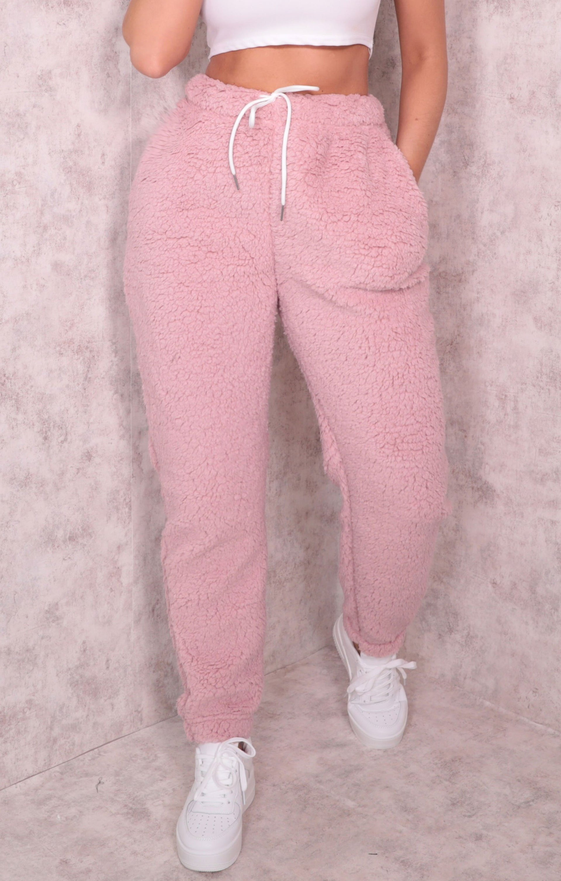 Pink Borg Cuffed Oversized Teddy Joggers - Anya