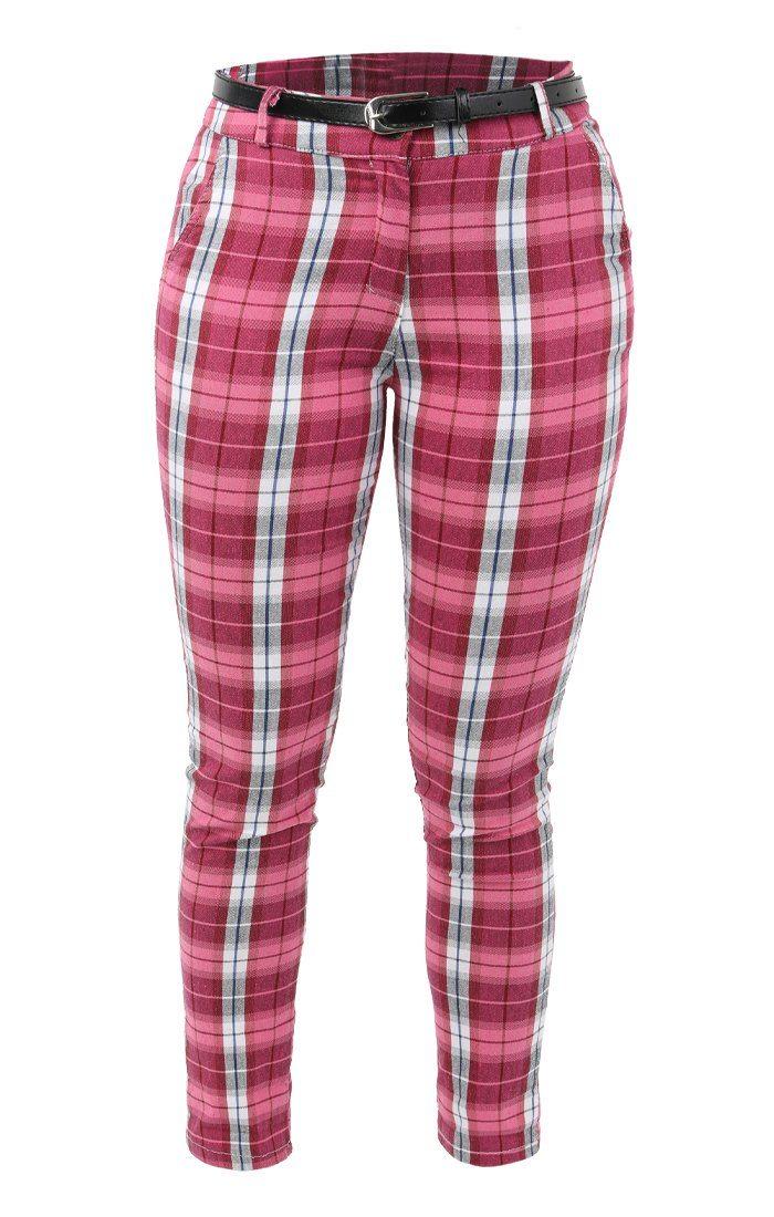 Pink Check Belted Trousers - Maia