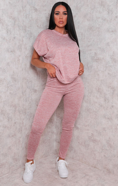 Pink Crew Neck Short Sleeve Leggings Loungewear Set - Irene