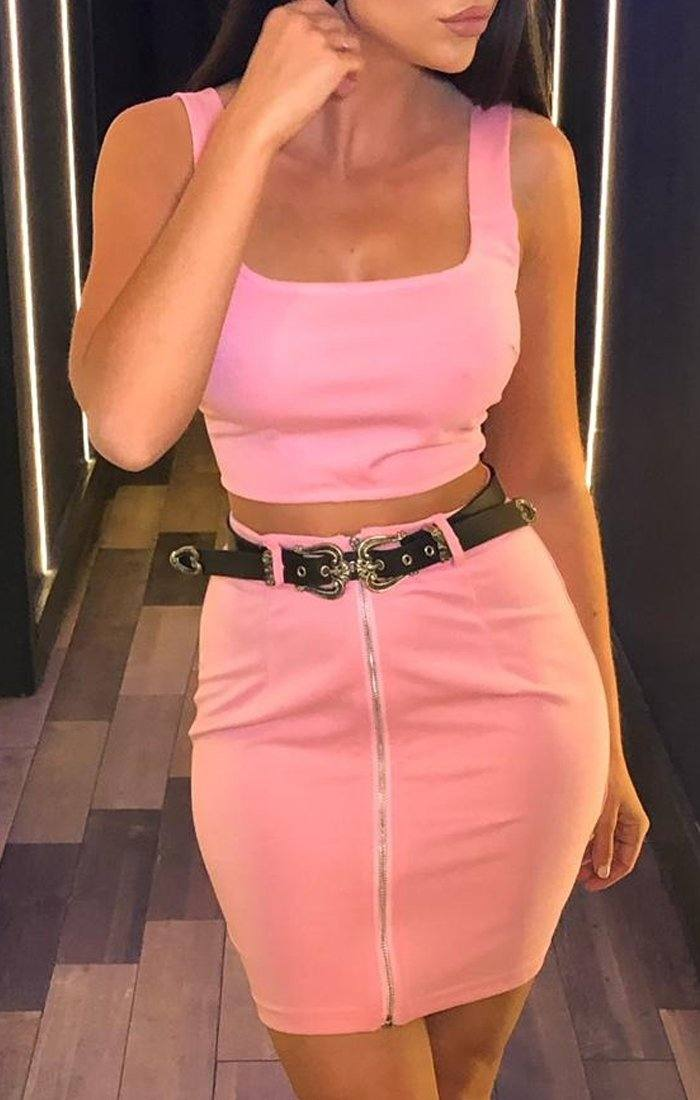 Pink Crop Top & Belted Mini Skirt Co-ord - Tani