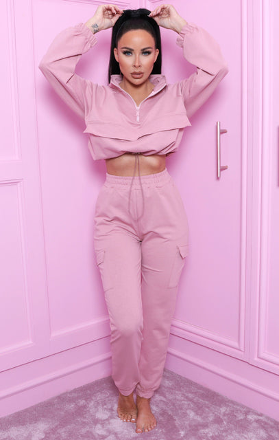 Pink Cropped Cargo Loungewear Set - Zuri