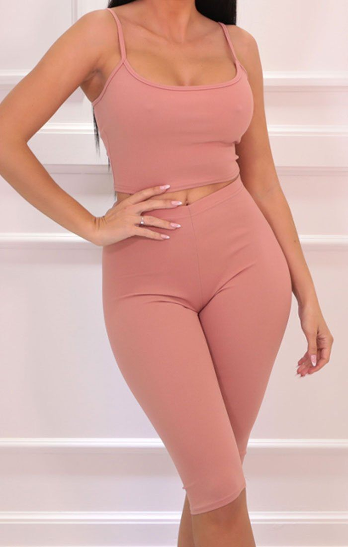 Pink Cropped Cycling Shorts Strappy Top Co-ord - Aofie