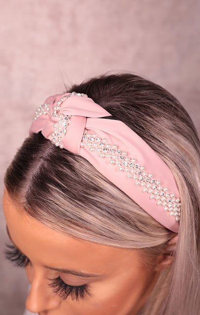 Pink Diamante Pearl Twist Front Satin Headband - Tilly