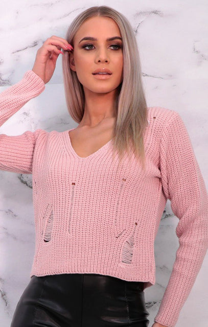 Pink Distressed Long Sleeve Knitted Cropped Jumper - Viola