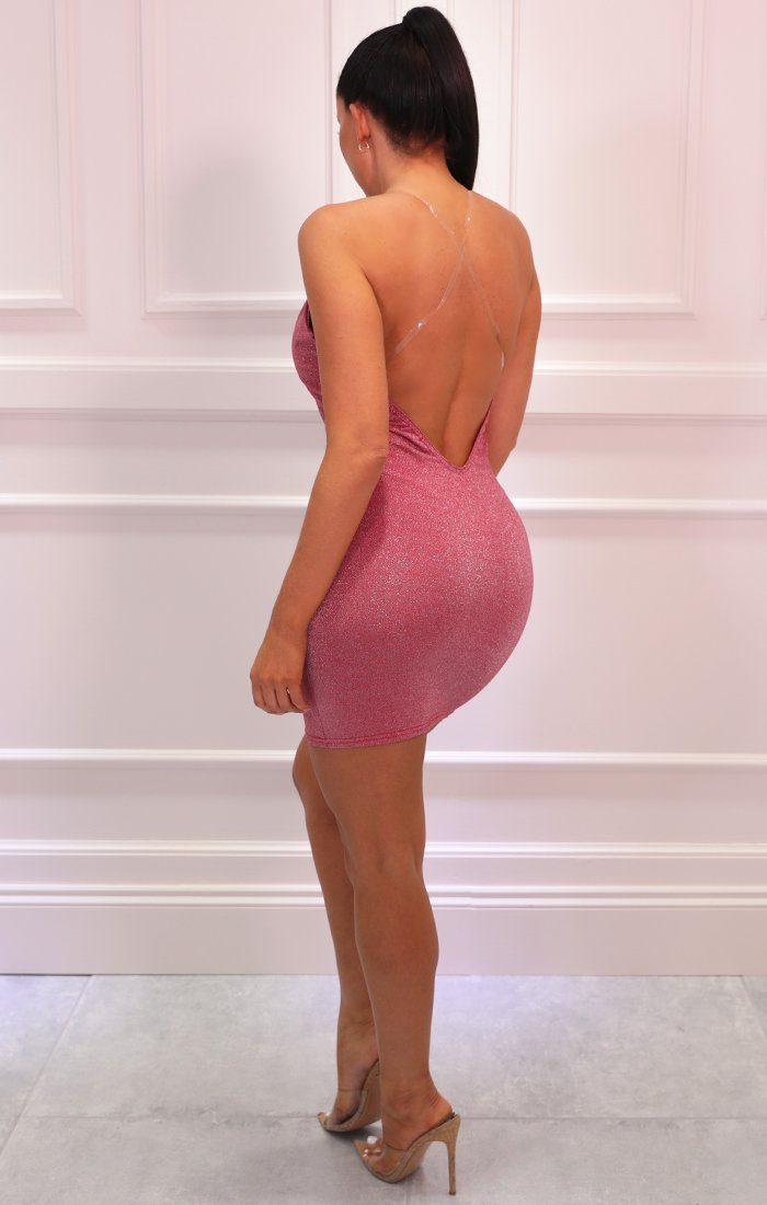 Pink Extreme Plunge Clear Strap Bodycon Mini Dress - Victoria