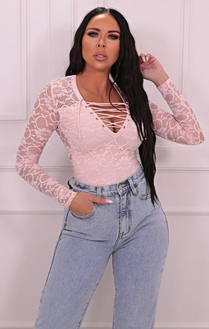 Pink Floral Lace Up Eyelet Bodysuit - Nia