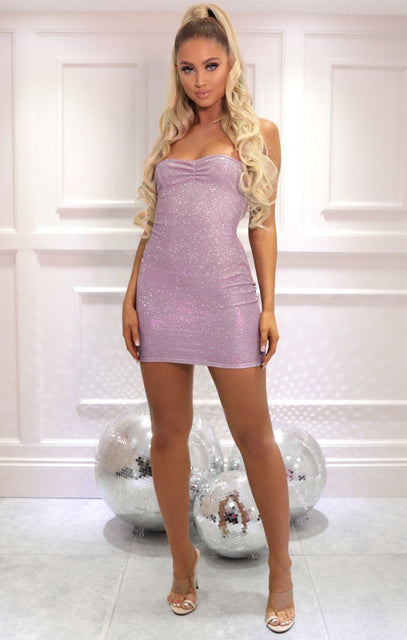 Pink Glitter Cross Back Bodycon Mini Dress - Karen