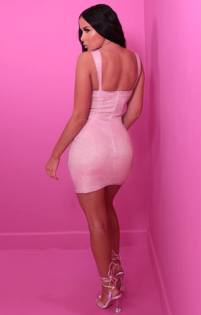 Pink Glitter Cupped Bodycon Mini Dress - Stassi