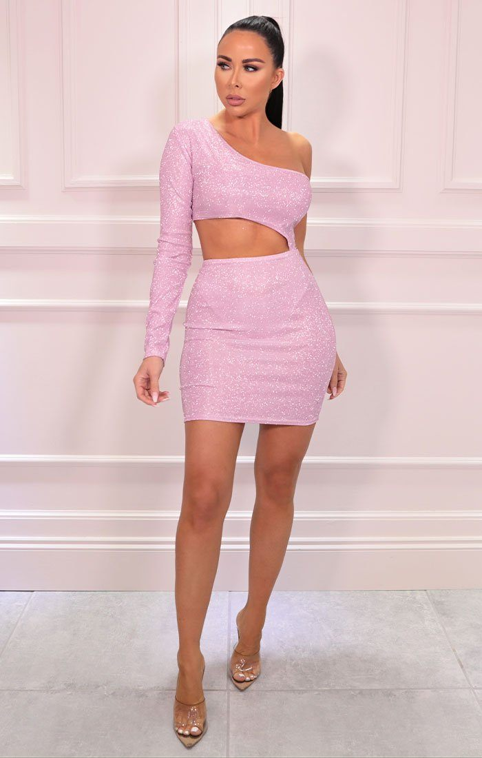 Pink Glitter One Shoulder Cut Out Bodycon Mini Dress - Stacey