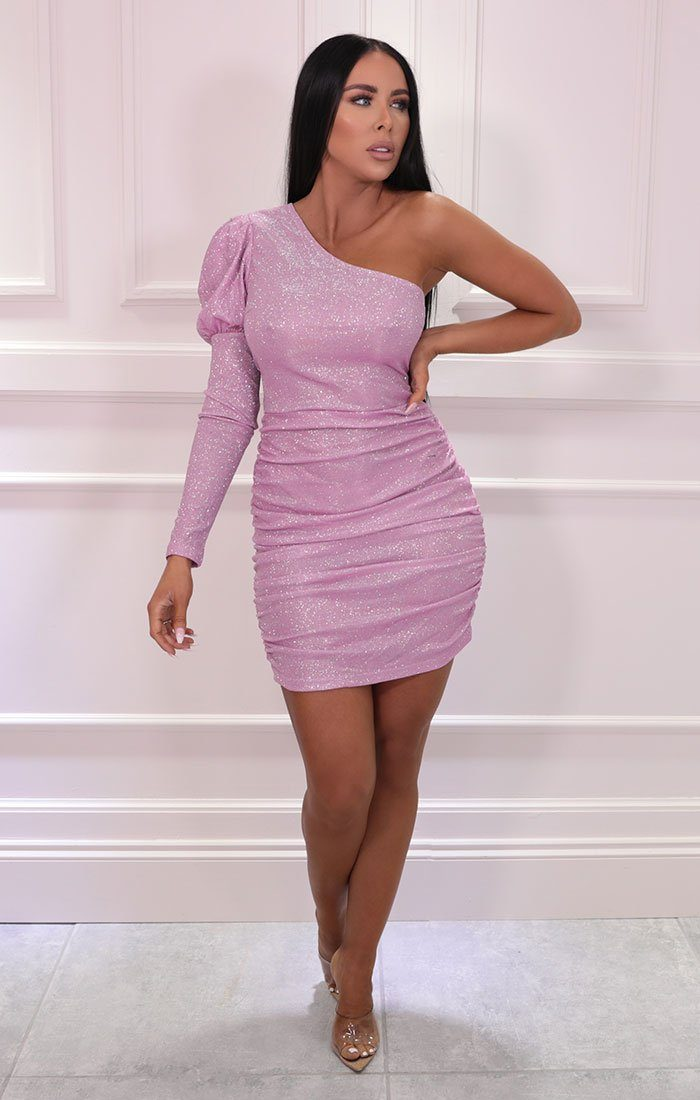 Pink Glitter One Shoulder Puff Sleeve Bodycon Mini Dress - Adesina