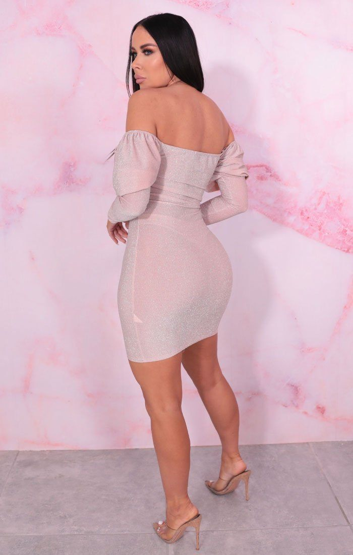 Pink Glitter Puff Sleeve Bodycon Mini Dress - Lipton