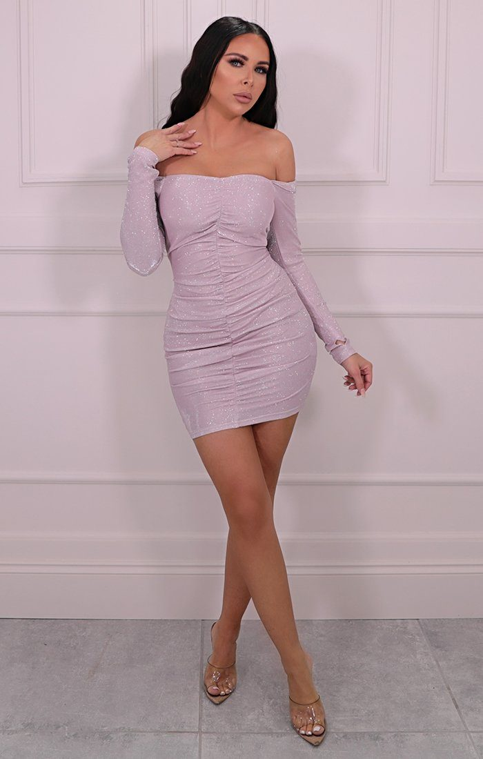 Pink Glitter Ruched Bardot Mini Dress - Bethany
