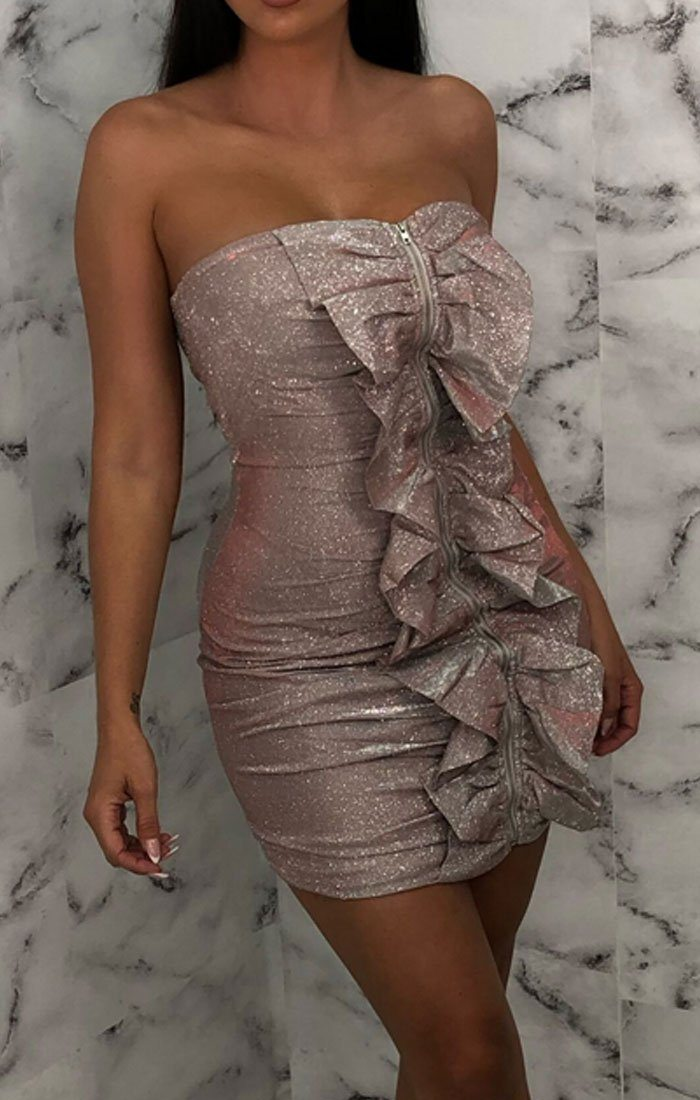 Pink Glitter Ruffle Front Bodycon Mini Dress - Elouise