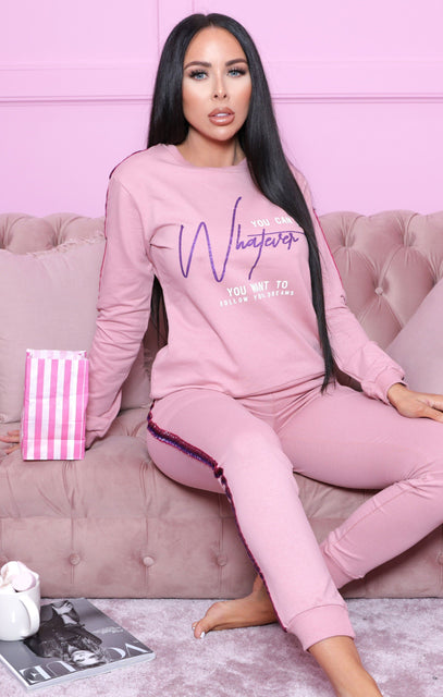 Pink Glitter Side Loungewear Set - Azaria