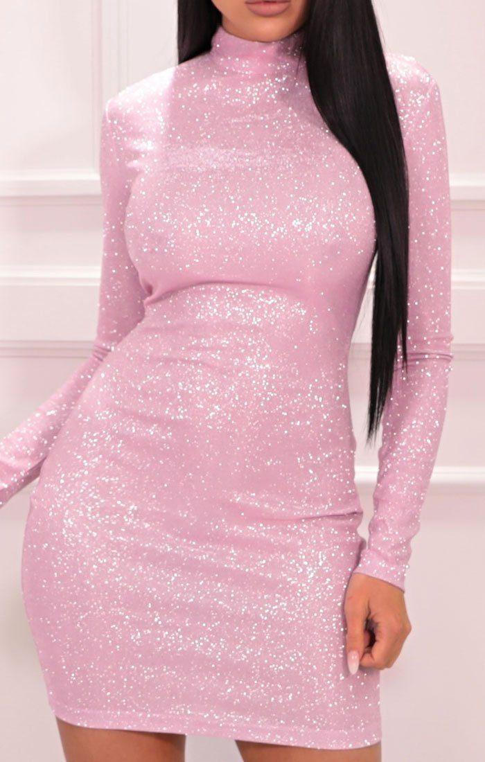 Pink Glitter Sparkly High Neck Bodycon Mini Dress - Aubrey
