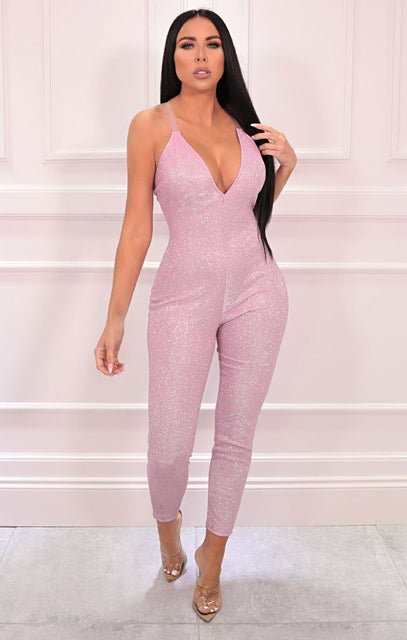 Pink Glitter Sparkly Plunge Clear Strap Jumpsuit - Cindy