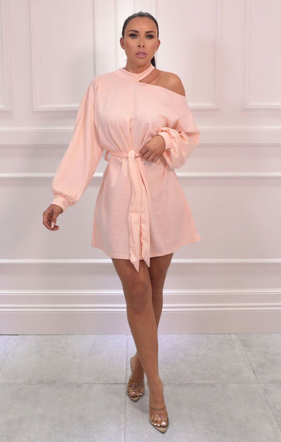 Pink High Neck Off The Shoulder Belted Mini Dress - Patty