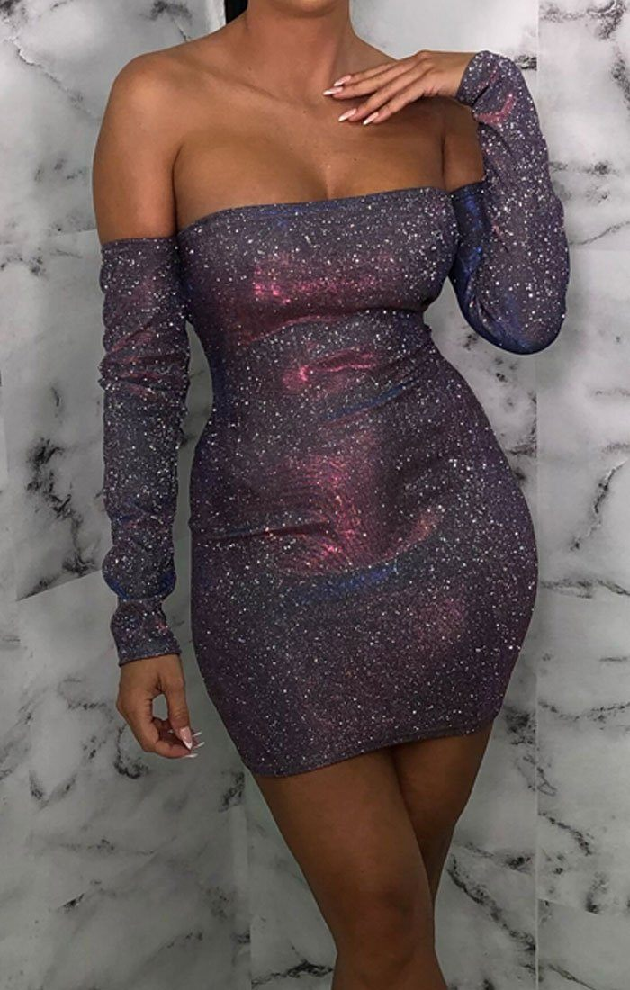 Pink Iridescent Bodycon Bardot Mini Dress - Elisa