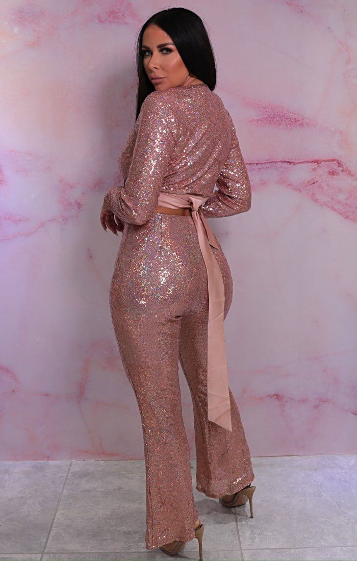 Pink Iridescent Sequin Tie Back Flare Leg Co-ord - Mylie