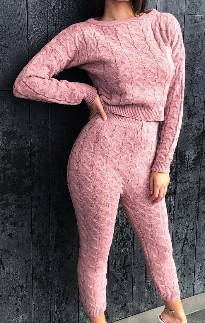 Pink Knitted Cropped Top Loungewear Set - Allie