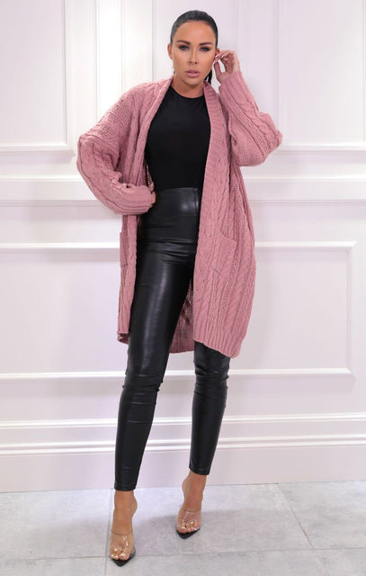 Pink Knitted Long Line Cardigan - Vicki