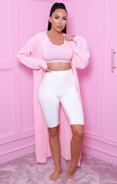 Pink Knitted Maxi Cardigan - June
