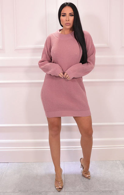 Pink Knitted Oversized Long Sleeve Jumper Dress - Georgia