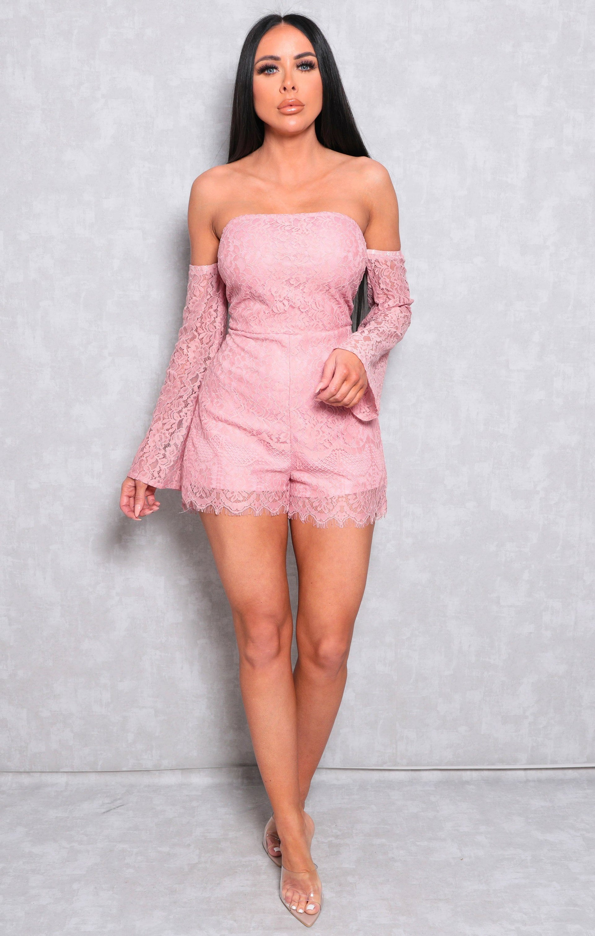 Pink Lace Bardot Flare Sleeve Playsuit - Christabel