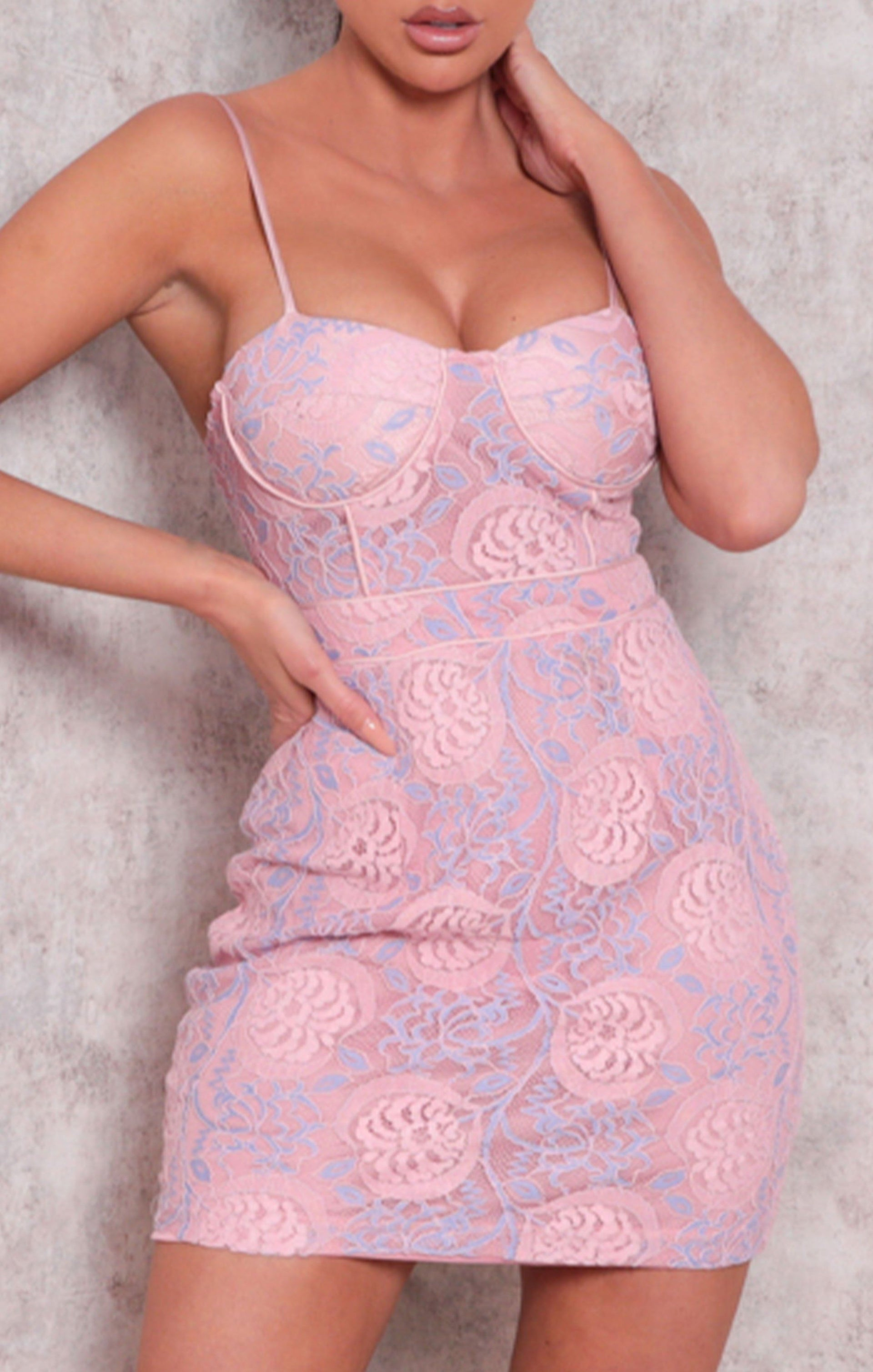 Pink Lace Padded Strappy Bodycon Mini Dress - Billie