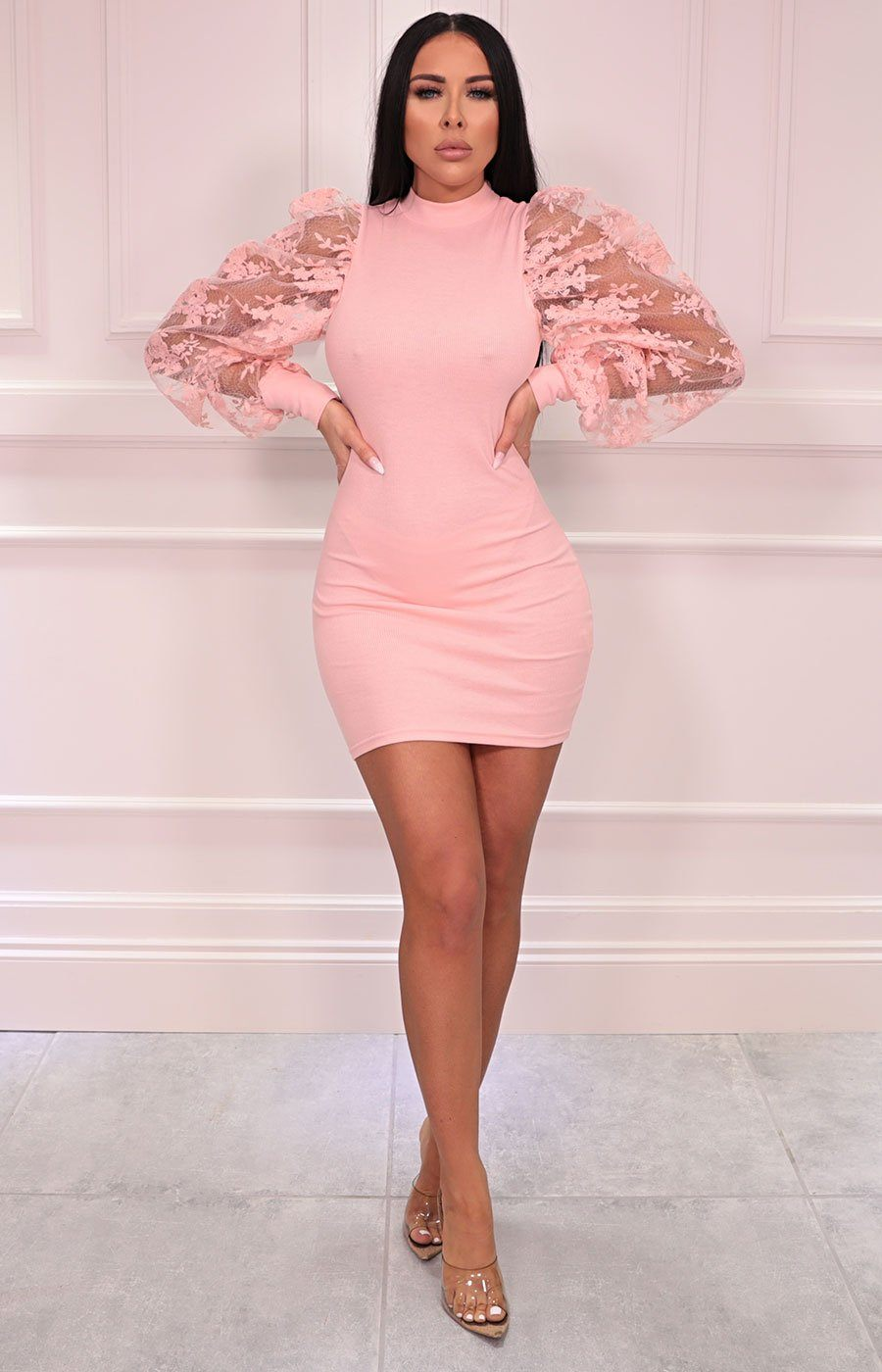 Pink Mesh Floral Sleeve Bodycon Mini Dress - Kellen