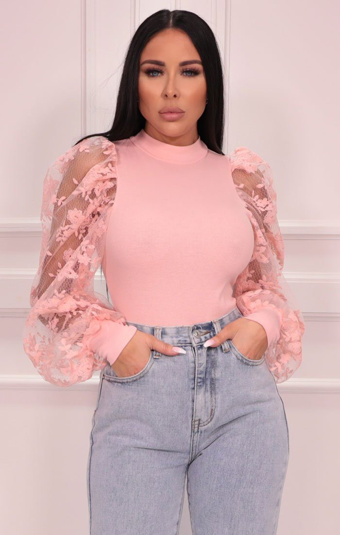 Pink Mesh Floral Sleeve Ribbed Top - Matilda