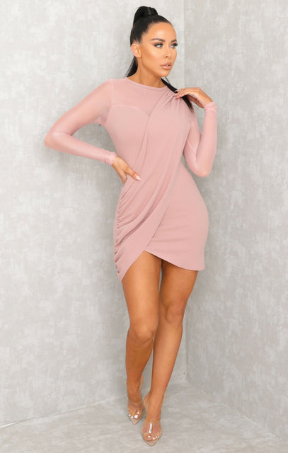 Pink Mesh Sleeve Wrap Over Bodycon Mini Dress - Louise
