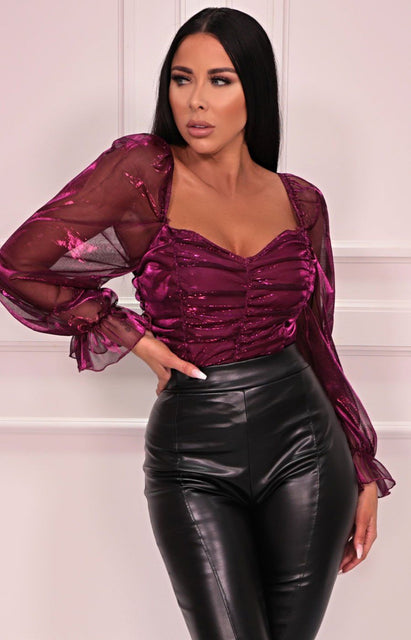 Pink Metallic Organza Mesh Sleeve Ruched Bodysuit - Cagney