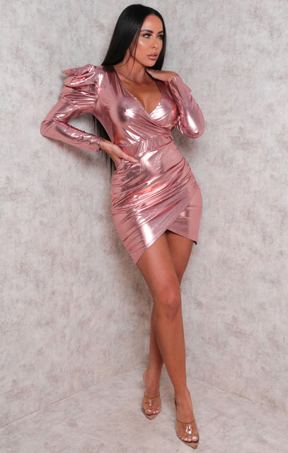 Pink Metallic Ruched Wrap Puff Sleeve Mini Dress - Ciara