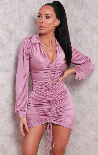Pink Metallic Slinky Ruched Front Collar Mini Dress - Idella