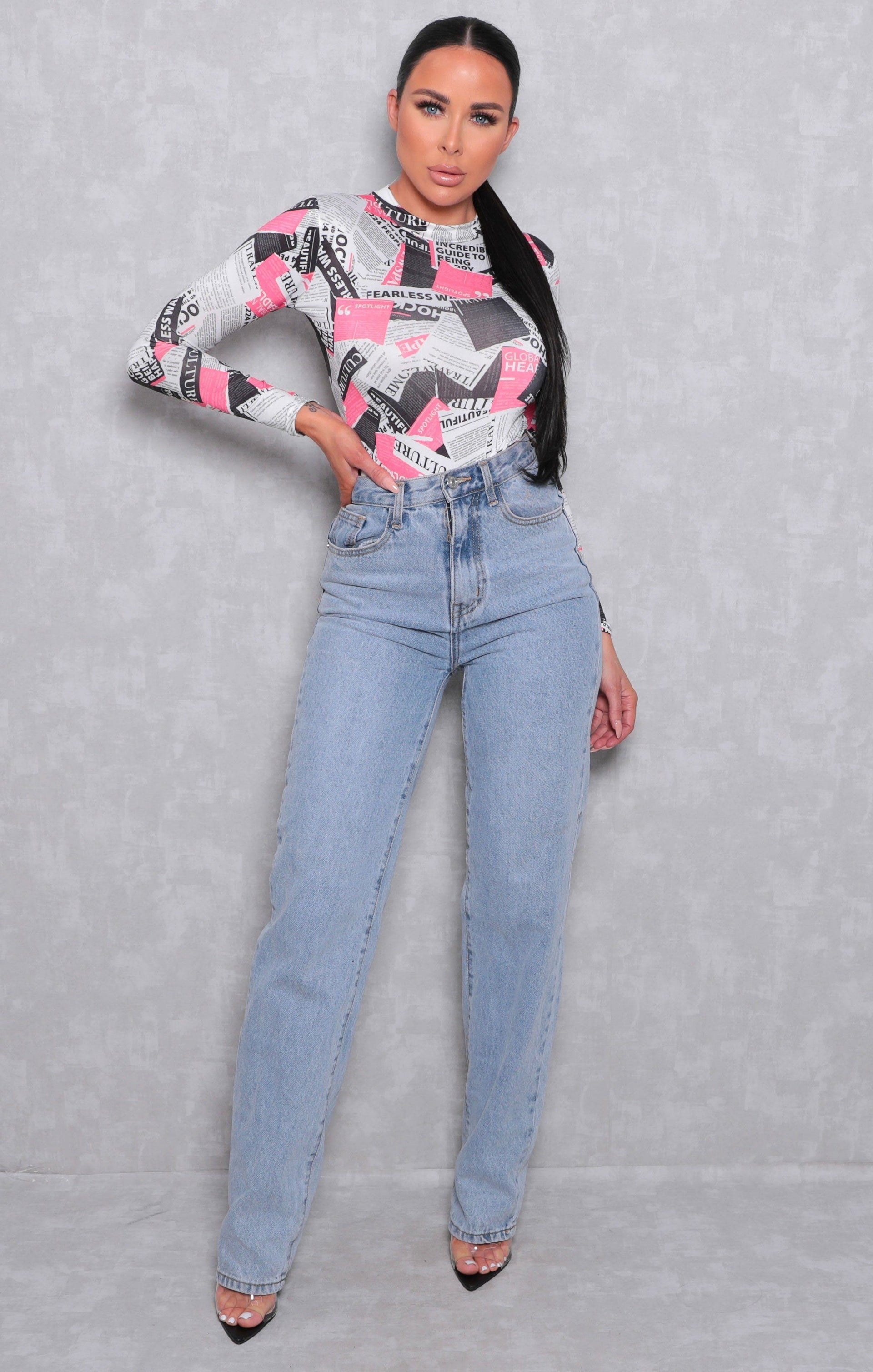 Pink Newspaper Print Slinky Long Sleeve Bodysuit - Luci