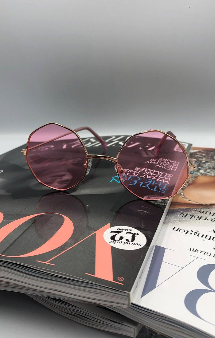 Pink Octagon Thin Frame Sunglasses - Elisa