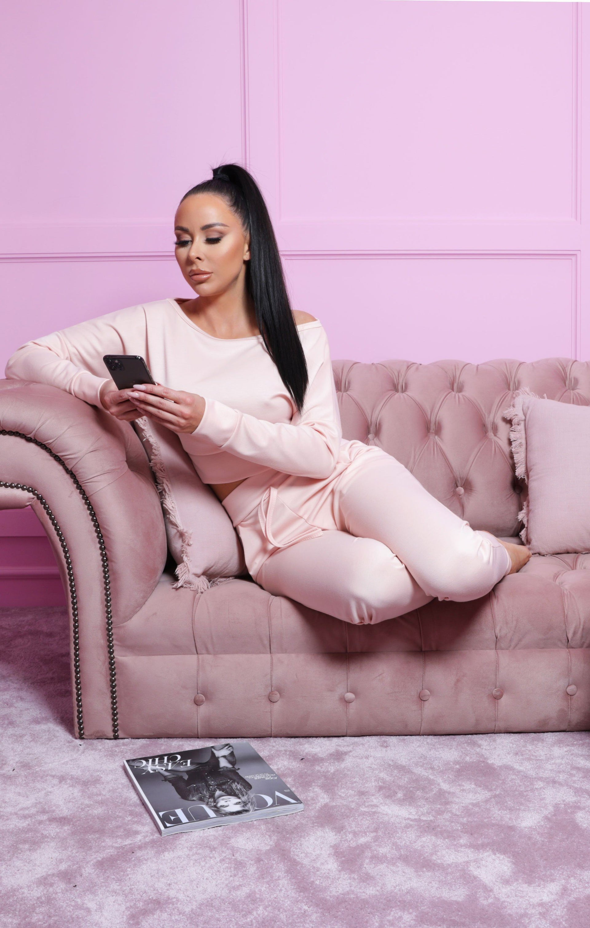 Pink Off Shoulder Loungewear Set - Blake