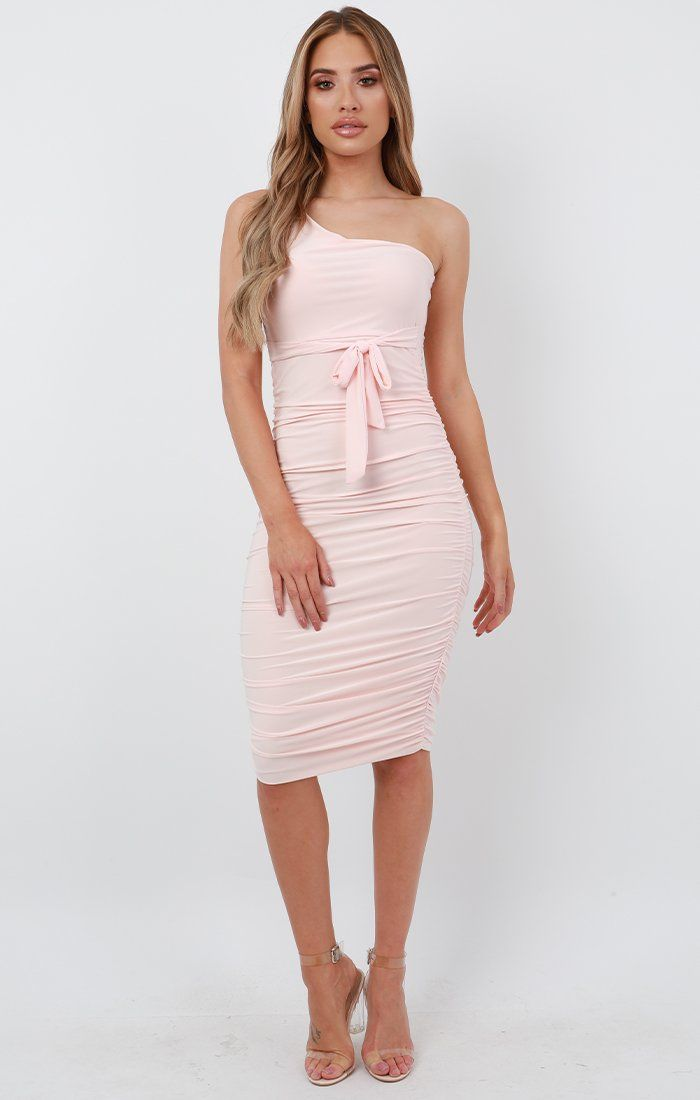 Pink One Shoulder Slinky Midi Dress - Dylan