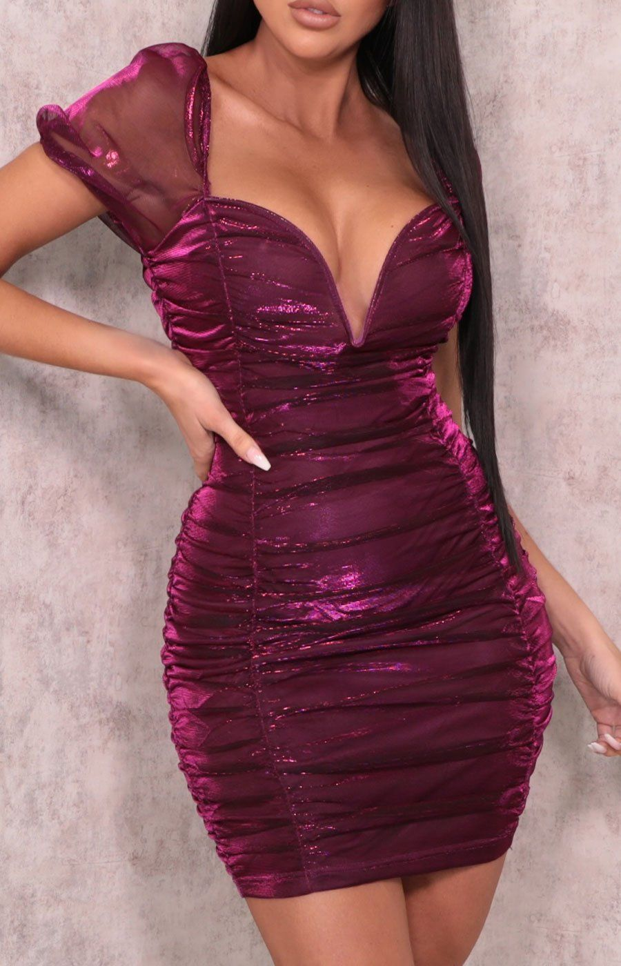 Pink Organza Puff Sleeve Plunge Bodycon Mini Dress - Bannon