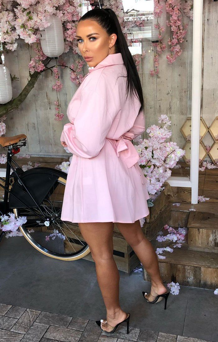 Pink Oversized Belted Shirt Dress - Aimee
