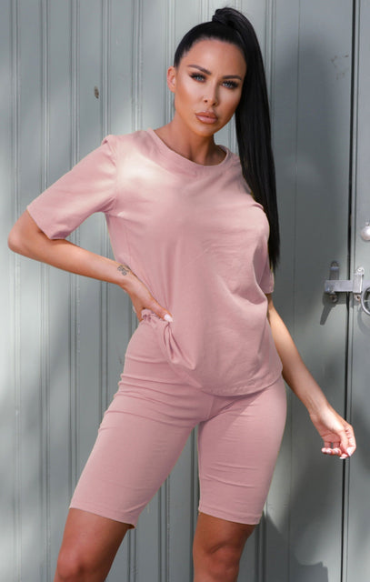 Pink Oversized T-Shirt Cycling Shorts Co-ord - Laura