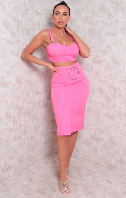 Pink Padded Crop Top Split Midi Skirt Co-ord - Dala