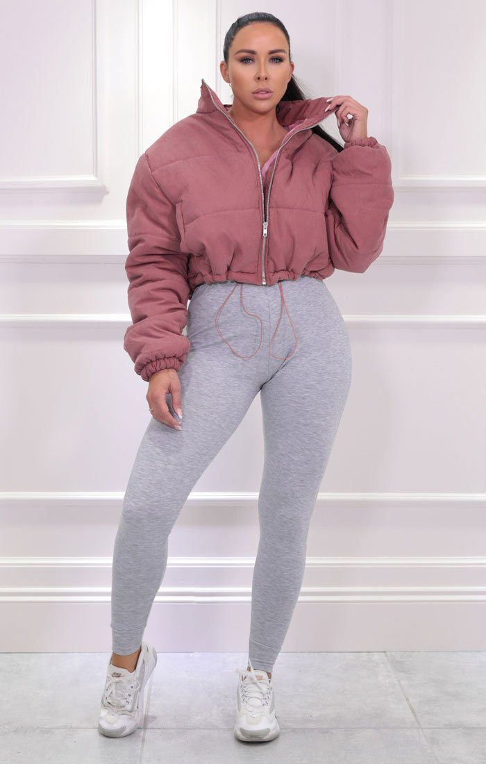 Pink Padded Oversized Cropped Puffer Jacket - Demi