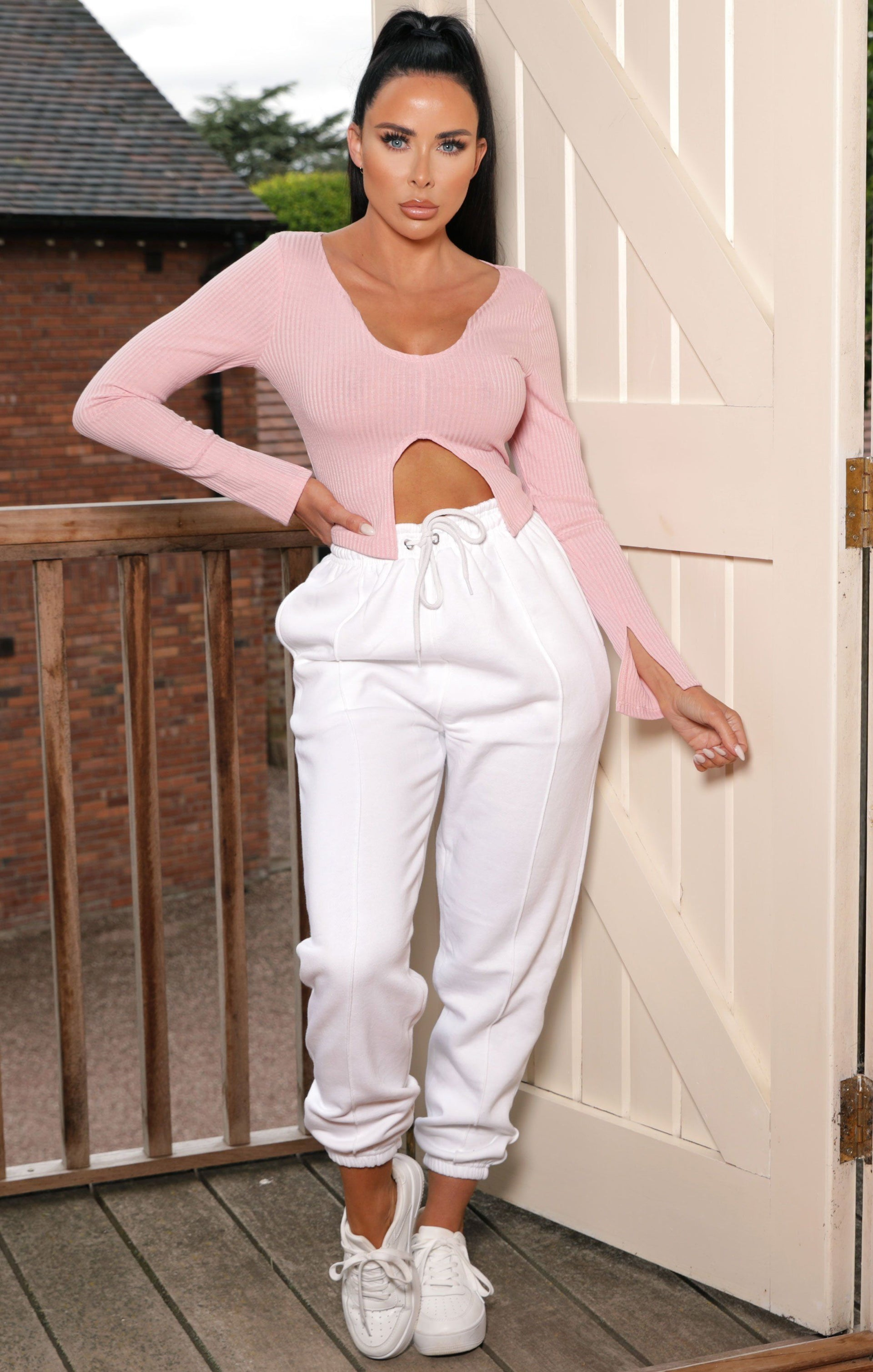 Pink Plunge Cut Out Long Sleeve Top - Journi
