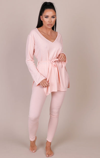 Pink Ribbed Belted Loungewear Set - Asia