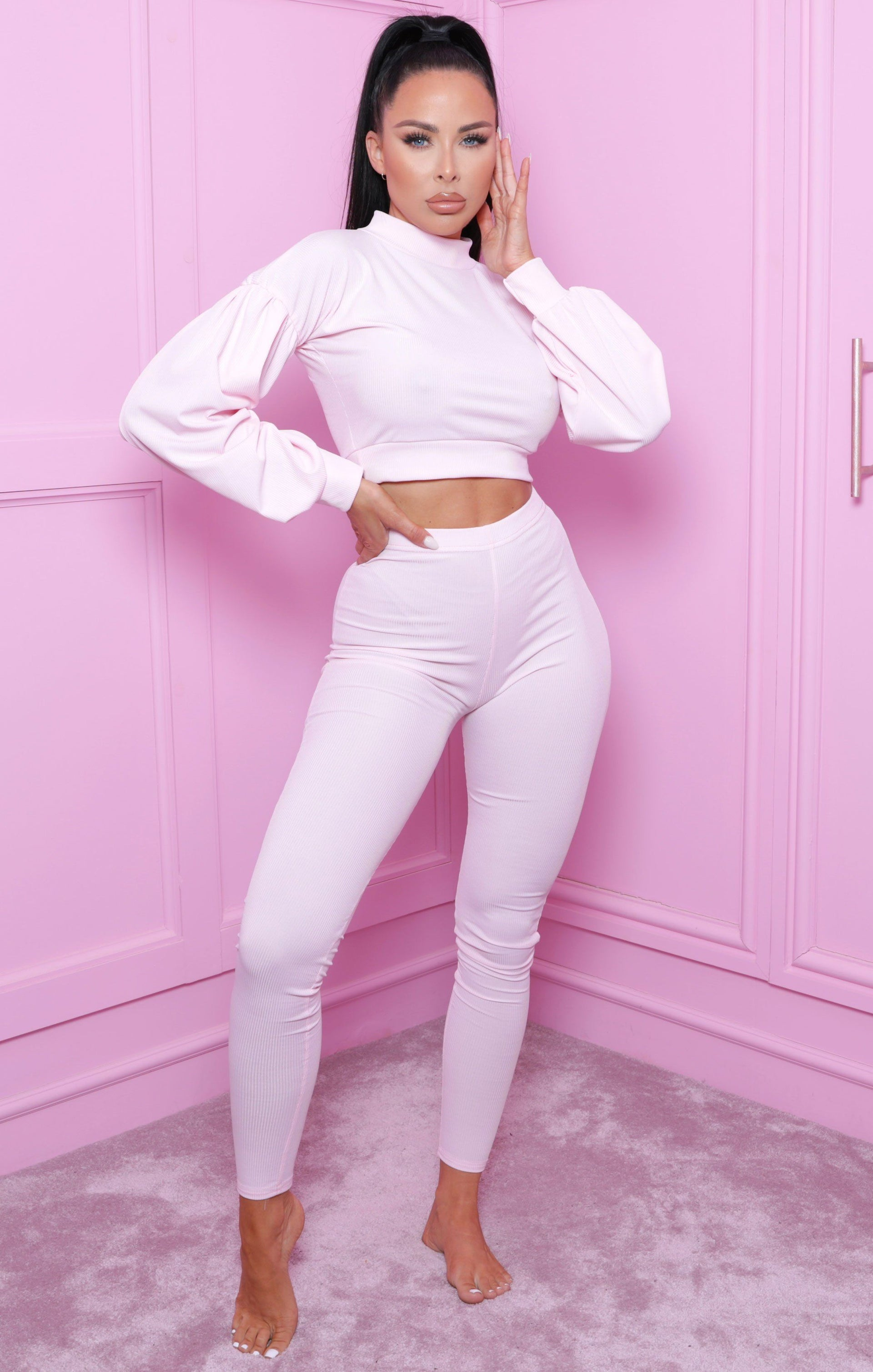 Pink Ribbed Crop Top Straight Leg Loungewear Set - Aniston